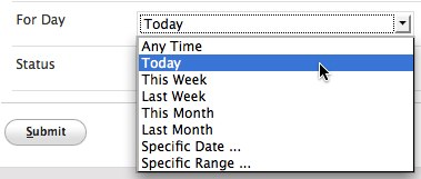 Options for day while creating new time report