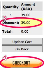 Checkout once discount is applied