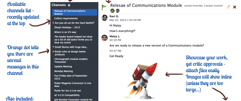 Communications module - Channels and Live Chat - annotated
