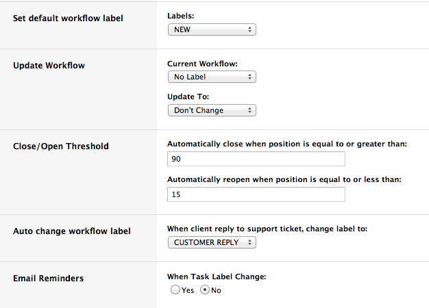 Workflow Rule Settings