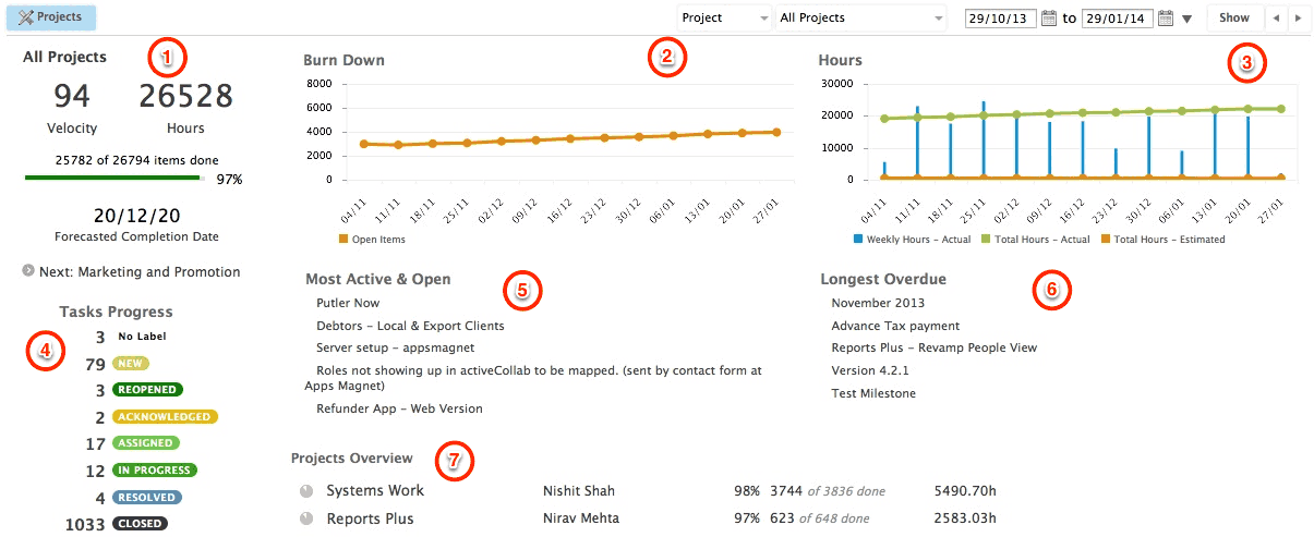 Reports Plus Projects Dashboard