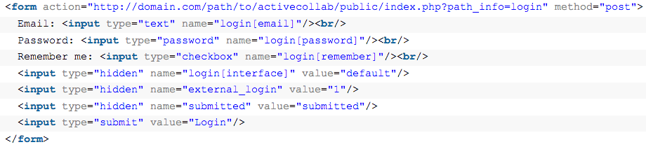 Use HTML code like this to insert an activeCollab login form on your site