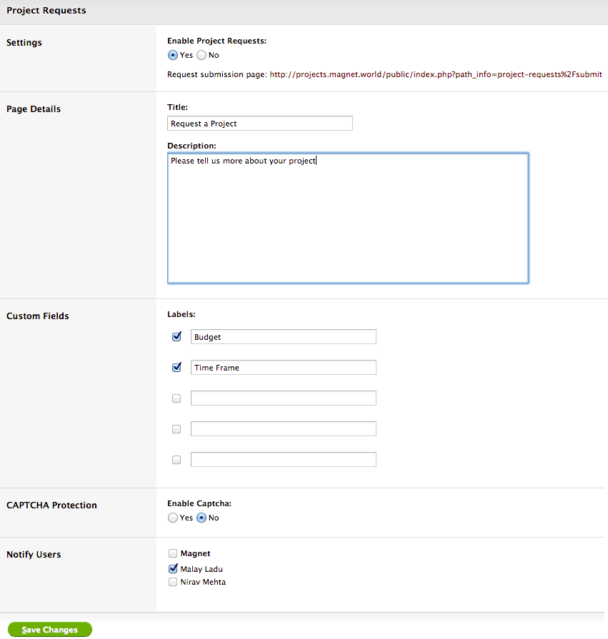Turn on Project Requests, you can even customize messaging and collect additional data from customers