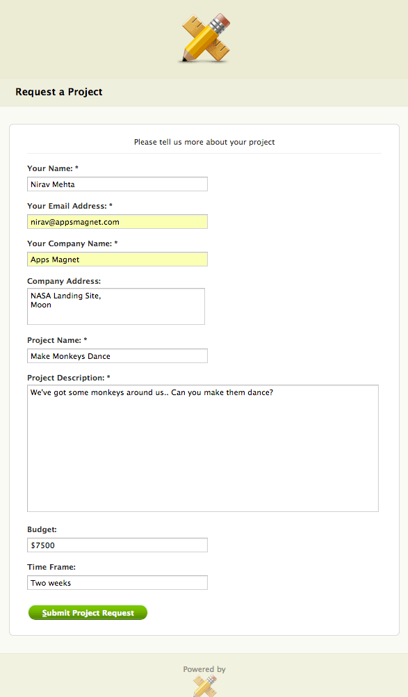 This is how Public Project Request page will look like to your visitors - you can change most of these things