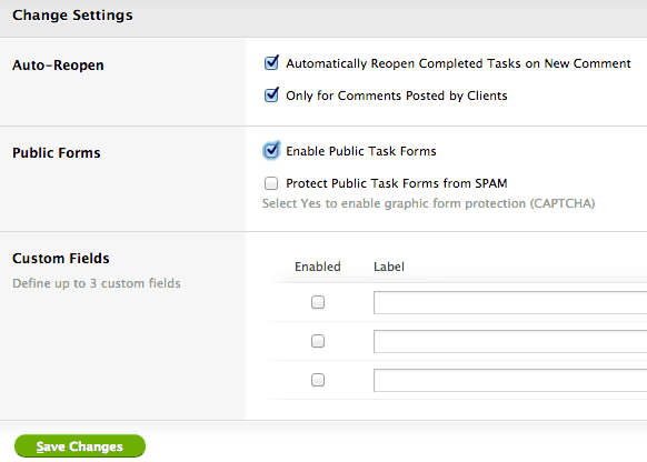 Task Settings - you must enable public task submission forms here, and then Create a new form